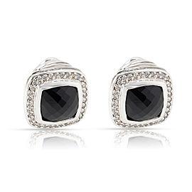 David Yurman Black Onyx & Diamond Earrings in Sterling 0.70 CTW