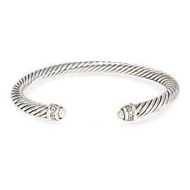 David Yurman 5mm Cable Diamond & Pearl Cuff in Sterling Silver 0.18 CTW