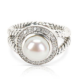 David Yurman Albion Pearl & Diamond Ring in Sterling Silver 0.20 CTW
