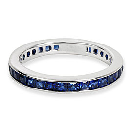 Channel Set Stackable Sapphire Eternity Band in 18K White Gold