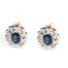 Estate Sapphire & Diamond Flower Earrings in 14K Yellow Gold