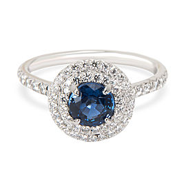 Tiffany & Co. Sapphire Diamond Engagement Ring in Platinum Blue 0.36 CTW
