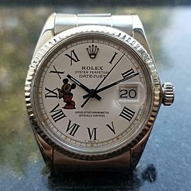 Rolex Mens Oyster Datejust 1601 Auto Mickey 18k/ss c1967 Swiss Vintage LV805