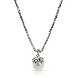 David Yurman Starburst Pearl Diamond Necklace in Sterling Silver 0.05 CTW