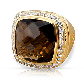 David Yurman Albion Smokey Topaz Diamond Ring in 18KT Yellow Gold 0.61 CTW