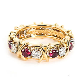 Tiffany & Co. Schlumberger Diamond Ruby Eternity Ring in 18K Yellow Gold 0.57 CT