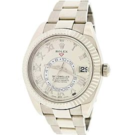 Rolex Sky-Dweller 18K White Gold Factory Ivory Dial 42mm Watch 326939 Box Papers