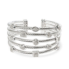 David Yurman Confetti Diamond Five Row Cable Cuff in Sterling Silver