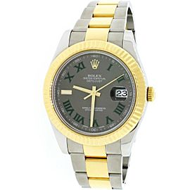 Rolex Datejust II 2-Tone Gold/Steel 41mm Grey Roman Dial Automatic Watch 116333