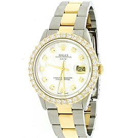 Rolex Date 2-Tone 18K Gold/SS 34mm w/2.7ct Diamond Bezel Automatic Oyster Watch