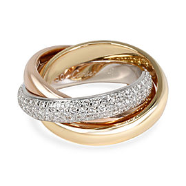 Cartier Trinity Diamond Ring (Classic) in 18K Tri Colored Gold 0.99 CTW
