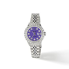 Rolex Datejust Steel 26mm Jubilee Watch 2CT Diamond Bezel / Pastel Purple Dial
