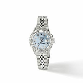 Rolex Datejust Steel 26mm Jubilee Watch 2CT Diamond Bezel / Sky Blue MOP Dial