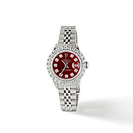 Rolex Datejust Steel 26mm Jubilee Watch 2CT Diamond Bezel / Candy Red Dial