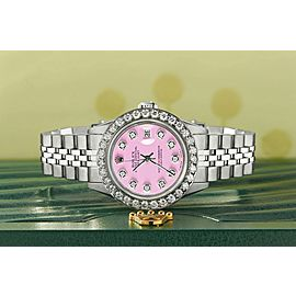 Rolex Datejust Steel 26mm Jubilee Watch Pastel Pink 1.3CT Diamond Bezel & Dial
