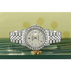 Rolex Datejust Steel 26mm Jubilee Watch Linen White 1.3CT Diamond Bezel & Dial