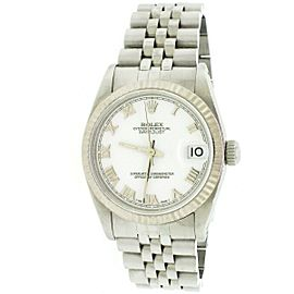 Rolex Datejust 18K/SS White Roman Dial 31mm Midsize Watch 68274