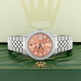 Rolex Datejust Steel 36mm Jubilee Watch w/1.1CT Diamond Bezel & Brown Dial