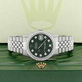 Rolex Datejust Steel 36mm Jubilee Watch 1.1CT Diamond Bezel Dark Green Dial