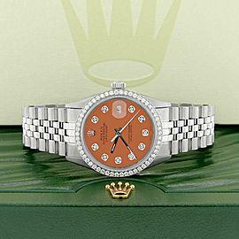 Rolex Datejust Steel 36mm Jubilee Watch 1.1CT Diamond Bezel & Matt Brown Dial