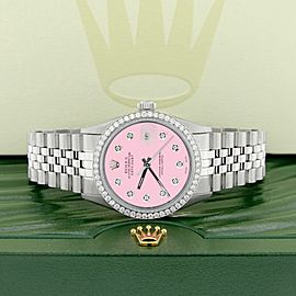 Rolex Datejust Steel 36mm Jubilee Watch/1.1CT Diamond Bezel/Pink Diamond Dial