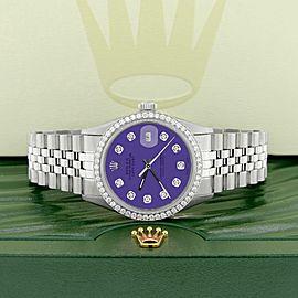 Rolex Datejust Steel 36mm Jubilee Watch 1.1CT Diamond Bezel/Purple Diamond Dial