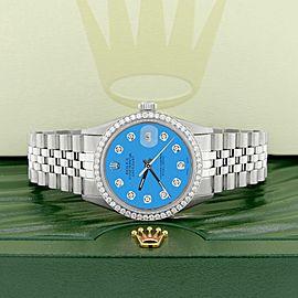 Rolex Datejust Steel 36mm Jubilee Watch 1.1CT Diamond Bezel/Blue Diamond Dial