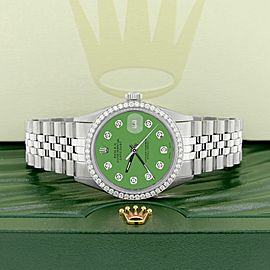 Rolex Datejust Steel 36mm Jubilee Watch 1.1CT Diamond Bezel/Money Green Dial