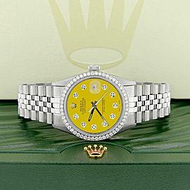 Rolex Datejust Steel 36mm Jubilee Watch 1.1CT Diamond Bezel/Yellow Diamond Dial