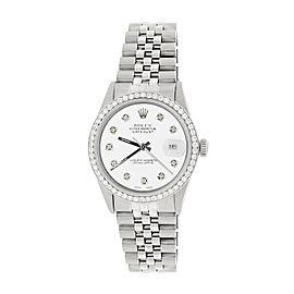 Rolex Datejust Steel 36mm Jubilee Watch 1.1CT Diamond Bezel/White Diamond Dial