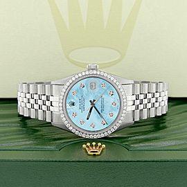 Rolex Datejust Steel 36mm Jubilee Watch 1.1CT Diamond Bezel/Light Blue MOP Dial
