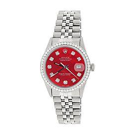 Rolex Datejust Steel 36mm Jubilee Watch 1.1CT Diamond Bezel/Royal Red MOP Dial
