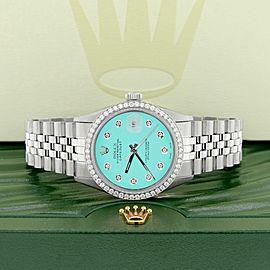 Rolex Datejust Steel 36mm Jubilee Watch Diamond Bezel & Matt Turquoise Dial