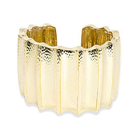 David Webb Hammered Ridged Cuff in 18KT Yellow Gold