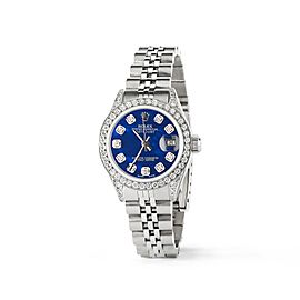 Rolex Datejust 26mm Steel Jubilee Diamond Watch w/Royal Blue MOP Dial