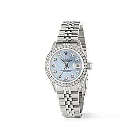 Rolex Datejust 26mm Steel Jubilee Diamond Watch w/Sky Blue MOP Dial
