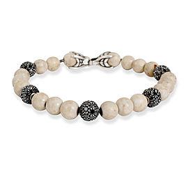 David Yurman Riverstone Spiritual & Black Diamond Bead Bracelet in Silver 7.2CTW