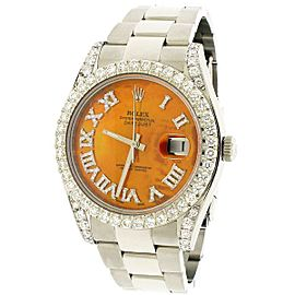 Rolex Datejust II Steel 41mm Diamond Bezel/Lugs/MOP Roman Dial 116300 Box Papers