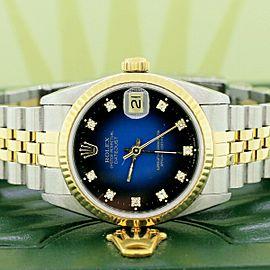 Rolex Datejust Midsize 31mm Gold/SS Factory Vignette Blue/Black Diamond Dial