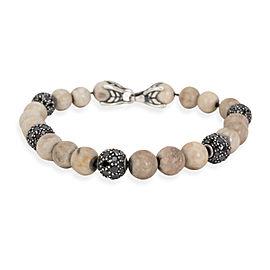 David Yurman Riverstone Black Diamond Bead Bracelet in Sterling Silver 1.5 CTW