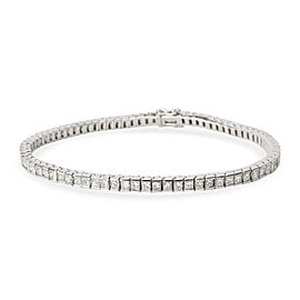 Princess Cut Channel Set Diamond Tennis Bracelet in 18K White Gold 5 CTW