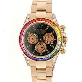 Rolex Cosmograph Daytona 40mm Rose Gold Watch 116505 Rainbow Bezel