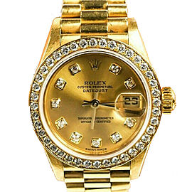 Rolex - Womens Diamond Datejust - 18K Gold - 26mm Lady Presidential Watch 8570