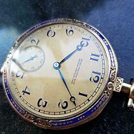 PATEK PHILIPPE Swiss 18k Gold Pocket Watch 46mm, c.1920s w/Box & Papers LV981