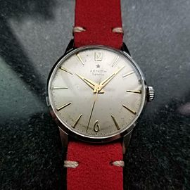 ZENITH Men's 18j Sporto Hand-Wind 35mm Vintage Watch, c.1960s Swiss LV869RED