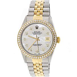 Rolex Datejust 2-Tone Gold/Steel 36mm Jubilee Watch w/MOP Diamond Dial & Bezel