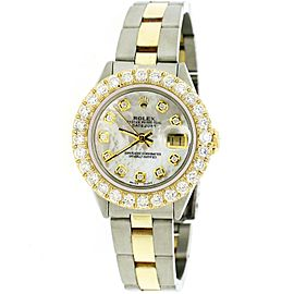 Rolex Datejust 26mm Yellow Gold/SS Jubilee Watch w/White MOP Diamond Dial&Bezel