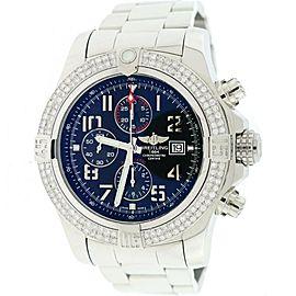 Breitling Super Avenger II Black Dial 48MM Steel Watch A13371 w/Diamond Bezel