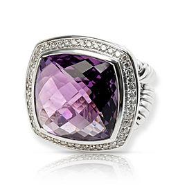 David Yurman Albion Amethyst & Diamond Ring in Sterling Silver