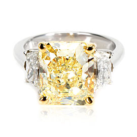 GIA Certified Fancy Yellow Radiant Diamond Engagement Ring in Platinum 5.02CTW